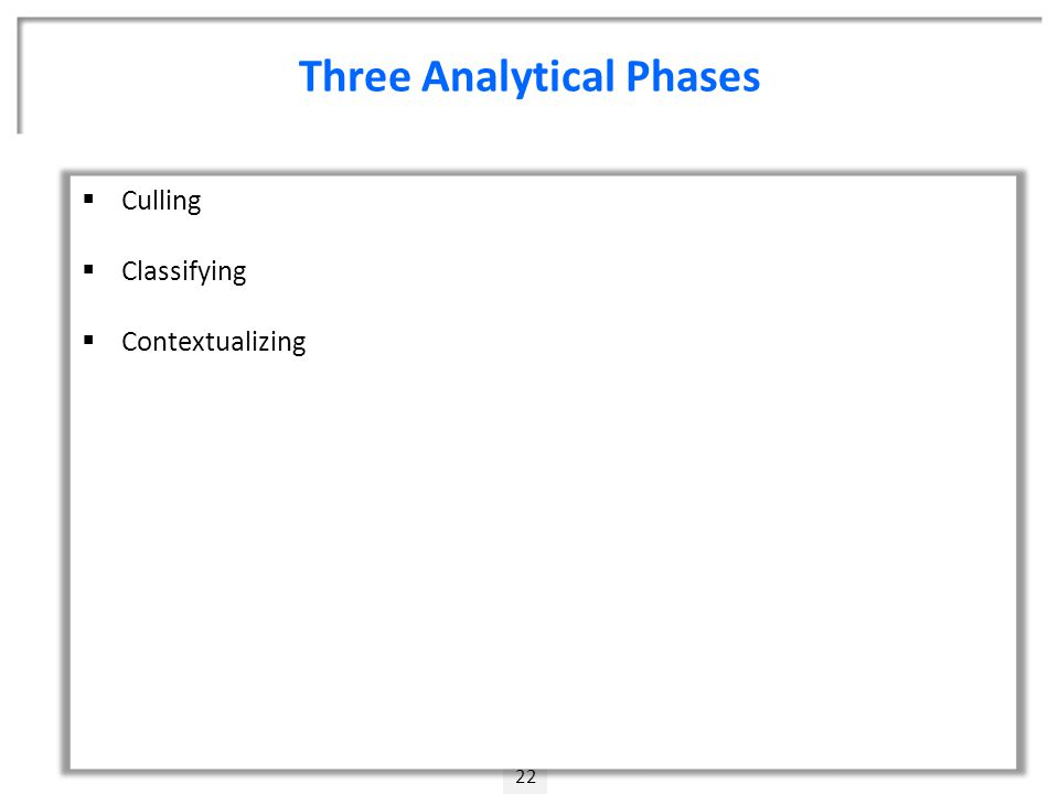 Three Analytical Phases 22  Culling  Classifying  Contextualizing