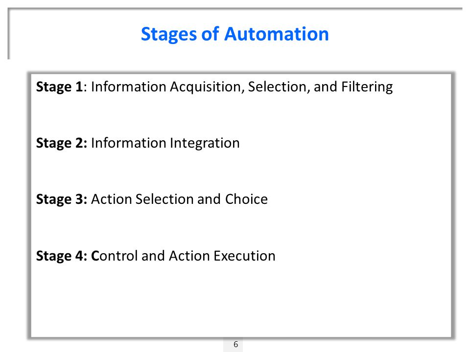 Stages of Automation 6 Stage 1: Information Acquisition, Selection, and Filtering Stage 2: Information Integration Stage 3: Action Selection and Choice Stage 4: Control and Action Execution