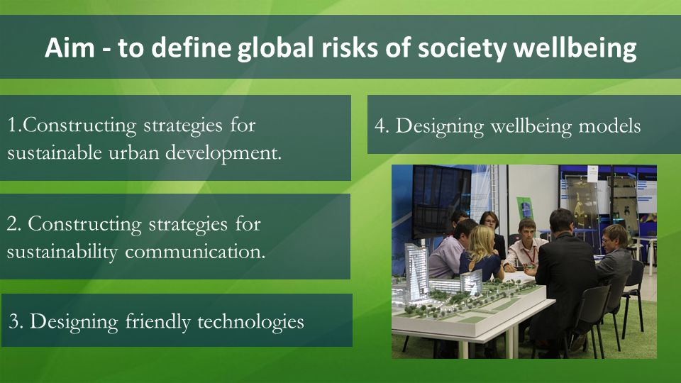 Aim - to define global risks of society wellbeing 1.Constructing strategies for sustainable urban development. 4. Designing wellbeing models 3. Design