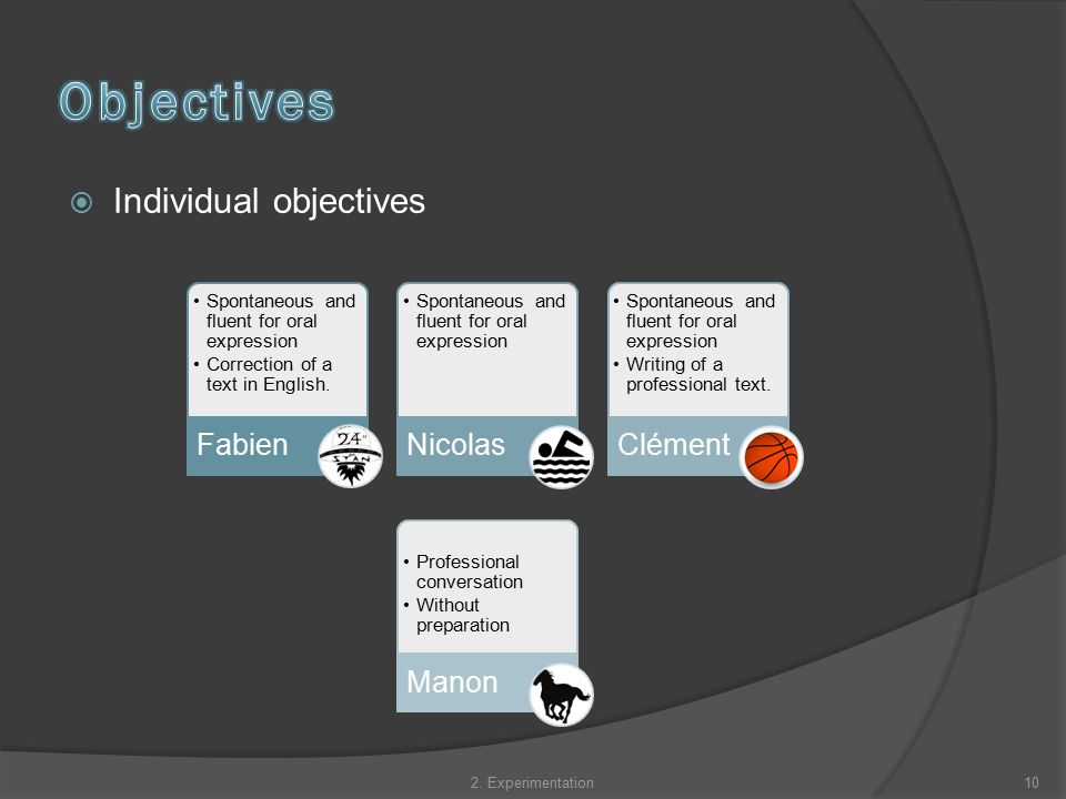  Individual objectives Spontaneous and fluent for oral expression Correction of a text in English.