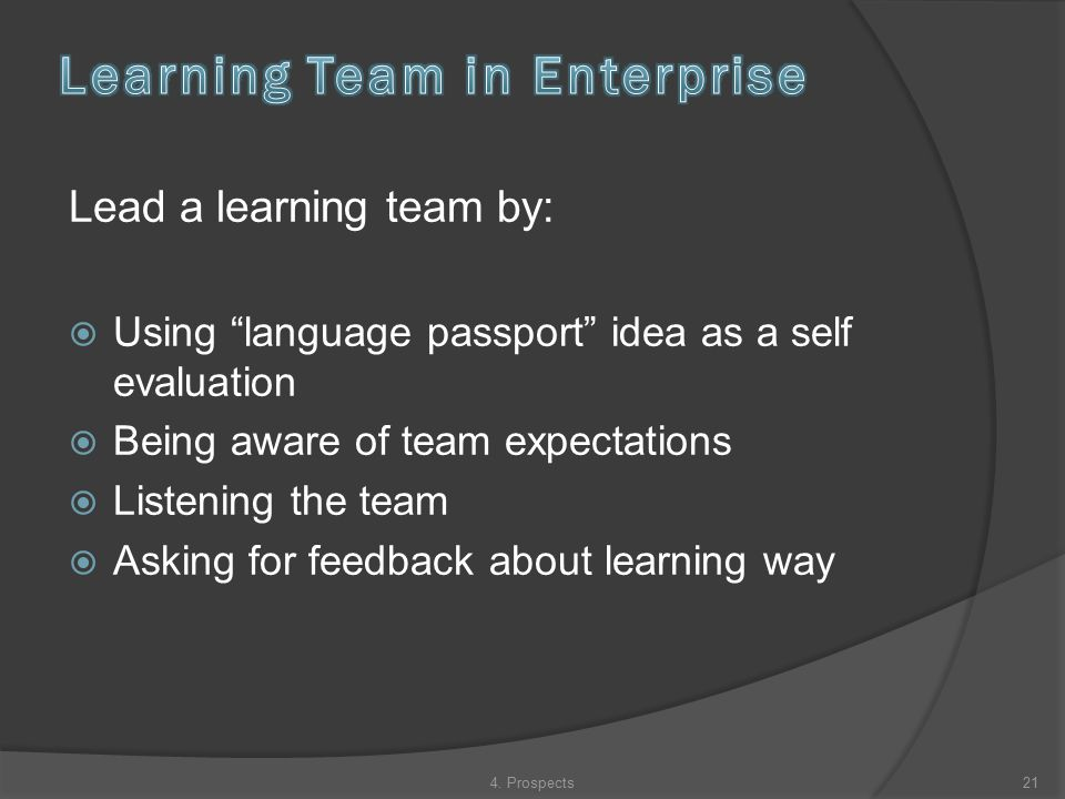 Lead a learning team by:  Using language passport idea as a self evaluation  Being aware of team expectations  Listening the team  Asking for feedback about learning way 214.