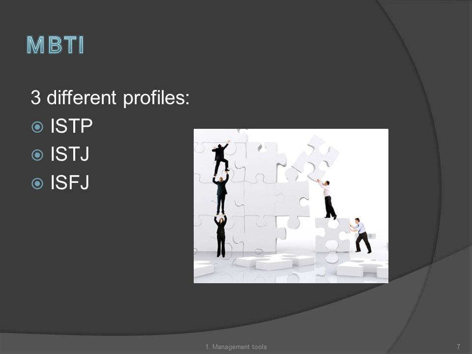 3 different profiles:  ISTP  ISTJ  ISFJ 71. Management tools