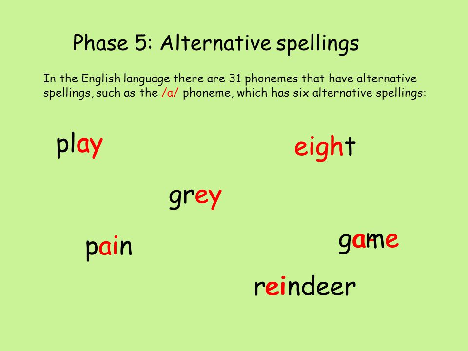 Phase 5: Alternative pronunciations Just as you thought it can't get any trickier than that.