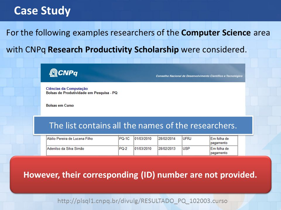 Case Study http://plsql1.cnpq.br/divulg/RESULTADO_PQ_102003.curso For the following examples researchers of the Computer Science area with CNPq Research Productivity Scholarship were considered.