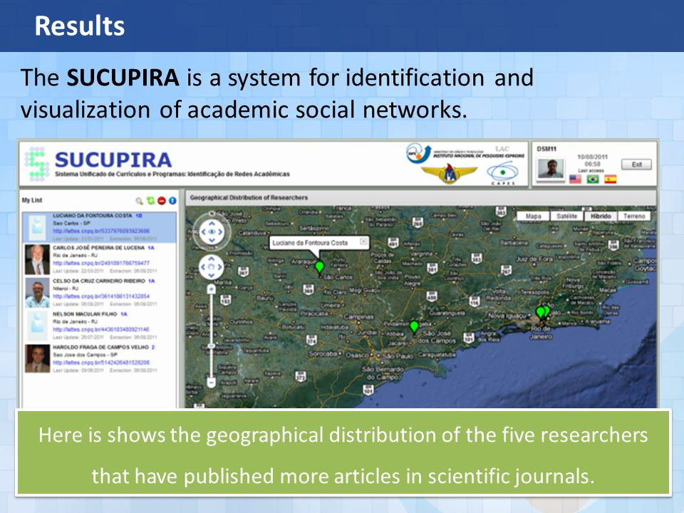 Results The SUCUPIRA is a system for identification and visualization of academic social networks.