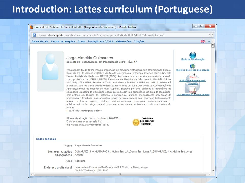 Introduction: Lattes curriculum (Portuguese)