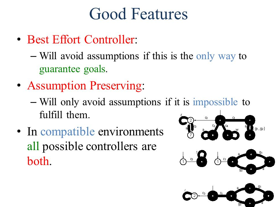 Good Features Best Effort Controller: – Will avoid assumptions if this is the only way to guarantee goals.