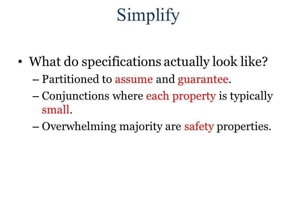 Simplify What do specifications actually look like.