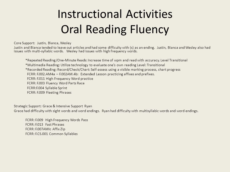 Instructional Activities Oral Reading Fluency Core Support: Justin, Bianca, Wesley Justin and Bianca tended to leave out articles and had some difficulty with (s) as an ending.