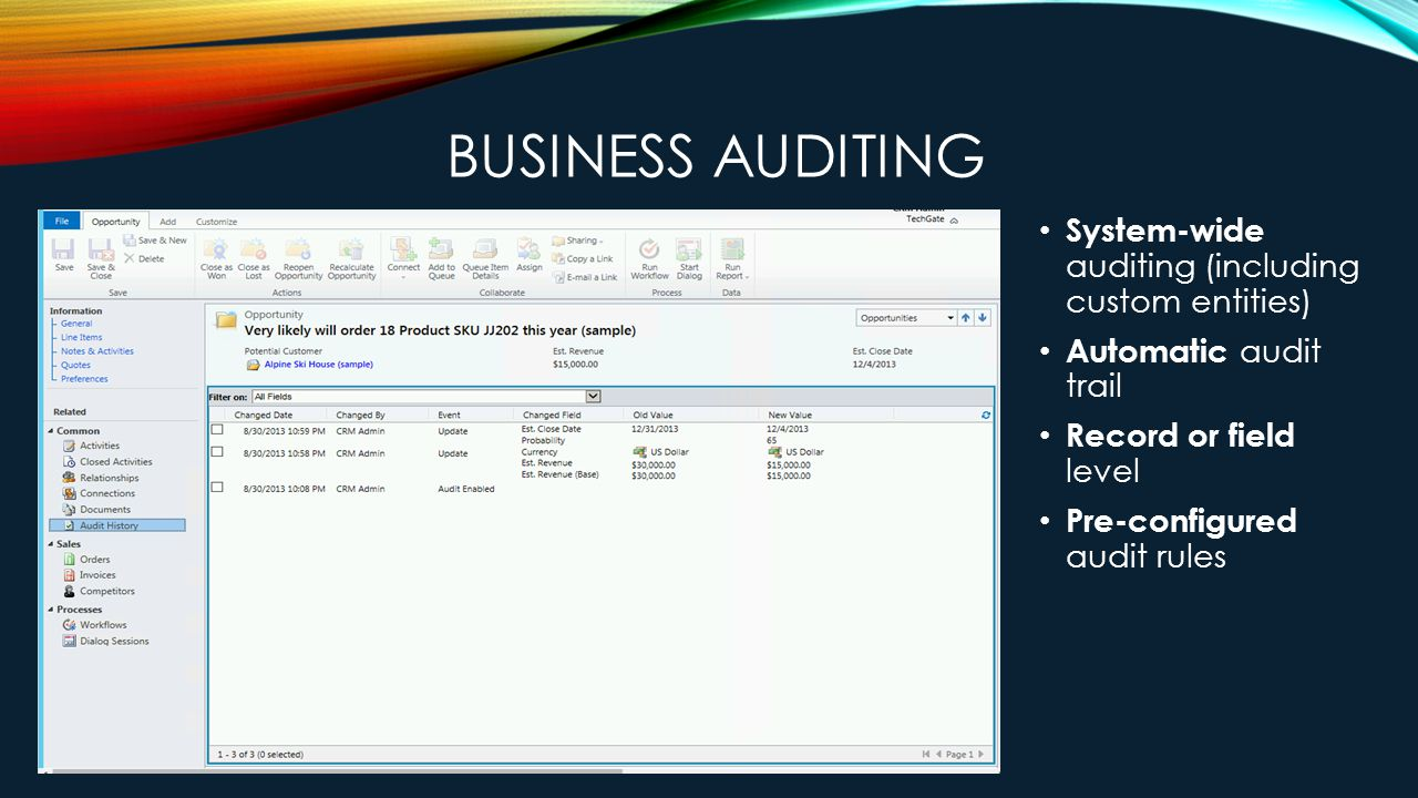 BUSINESS AUDITING System-wide auditing (including custom entities) Automatic audit trail Record or field level Pre-configured audit rules