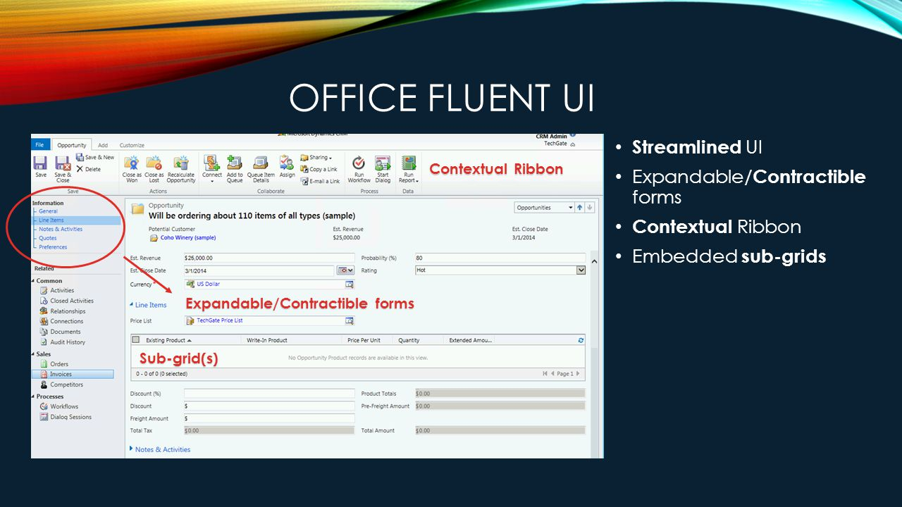 OFFICE FLUENT UI Streamlined UI Expandable/ Contractible forms Contextual Ribbon Embedded sub-grids Contextual Ribbon Sub-grid(s) Expandable/Contractible forms