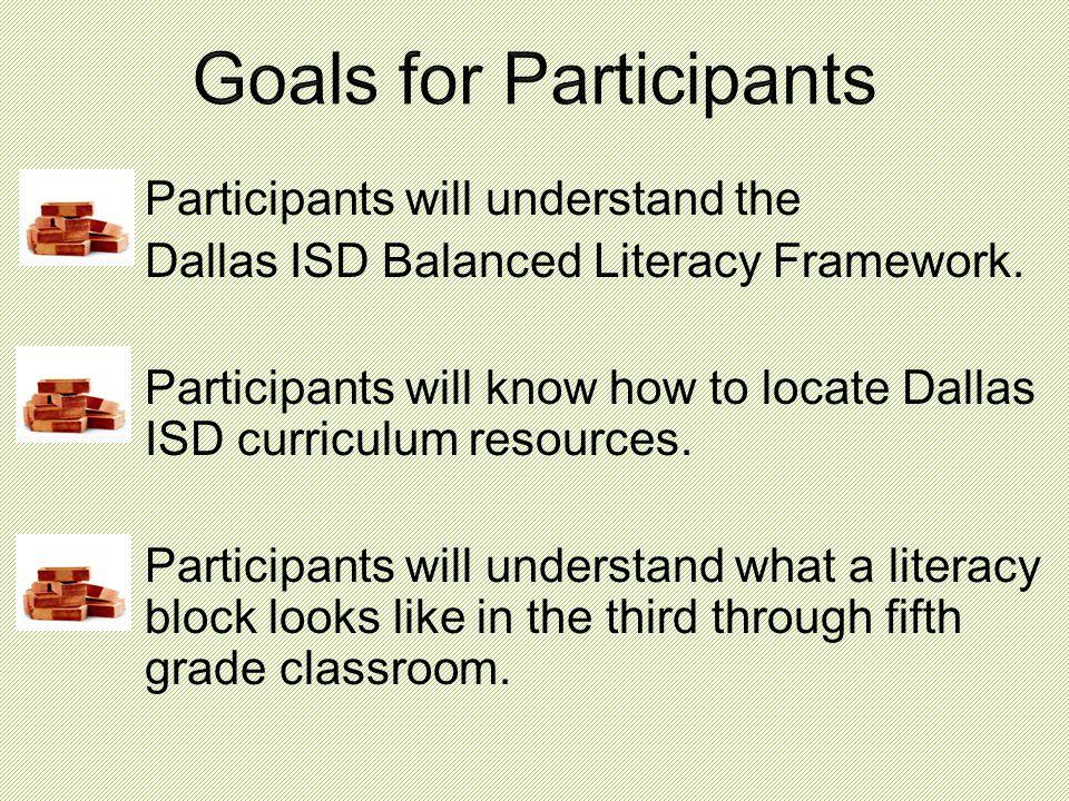 Participants will understand the Dallas ISD Balanced Literacy Framework.