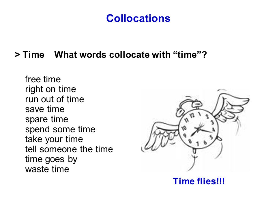 Collocations > Time What words collocate with time .