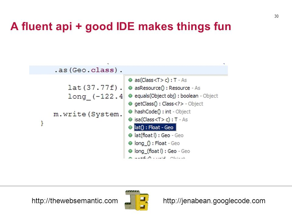 A fluent api + good IDE makes things fun 30