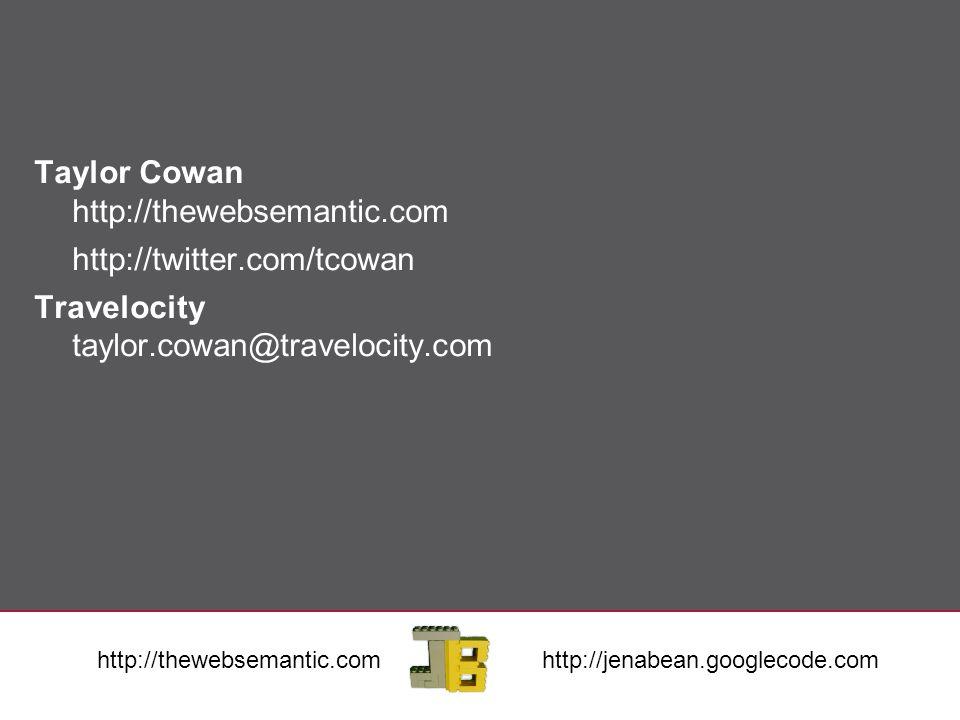Taylor Cowan http://thewebsemantic.com http://twitter.com/tcowan Travelocity taylor.cowan@travelocity.com