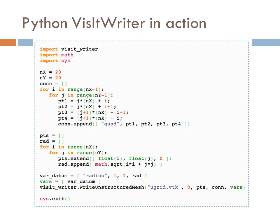 Python VisItWriter in action