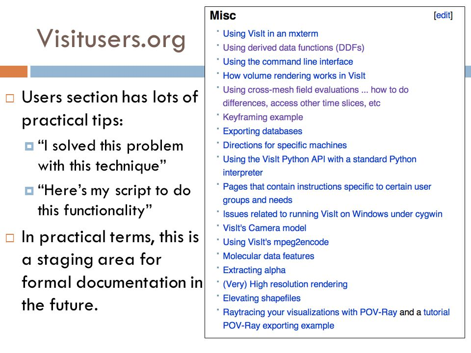 Visitusers.org  Users section has lots of practical tips:  I solved this problem with this technique  Here's my script to do this functionality  In practical terms, this is a staging area for formal documentation in the future.