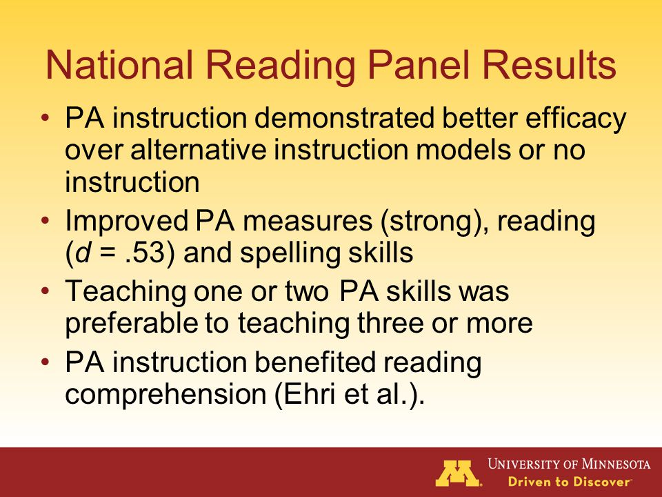 National Reading Panel Is phonemic awareness instruction effective in helping children learn to read.