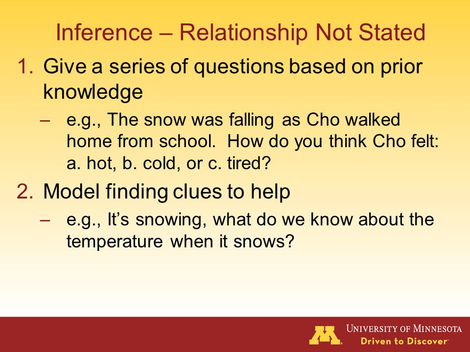 Inference – Relationship Stated 1.Provide a rule –e.g.
