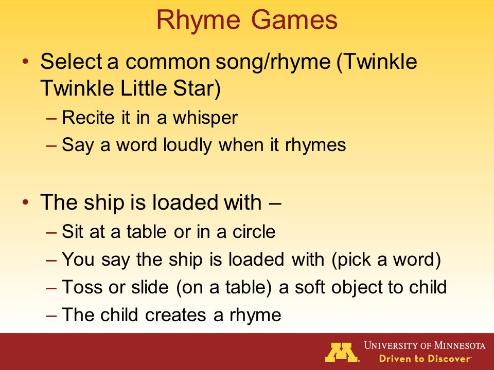 Phonemic Awareness – Proficiency Rhyme game Sound game Switcheroo Consonant riddles Picture searches Row your boat Sound of the day