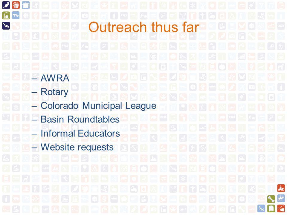 Outreach thus far –AWRA –Rotary –Colorado Municipal League –Basin Roundtables –Informal Educators –Website requests