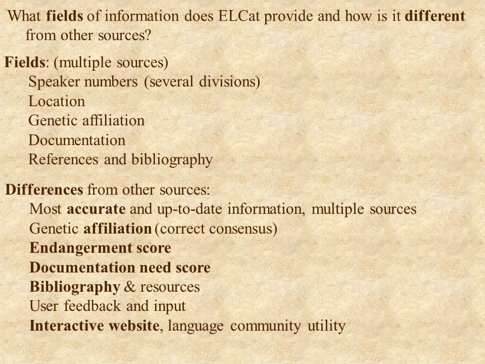 What fields of information does ELCat provide and how is it different from other sources.