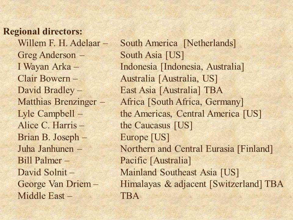 Regional directors: Willem F. H.