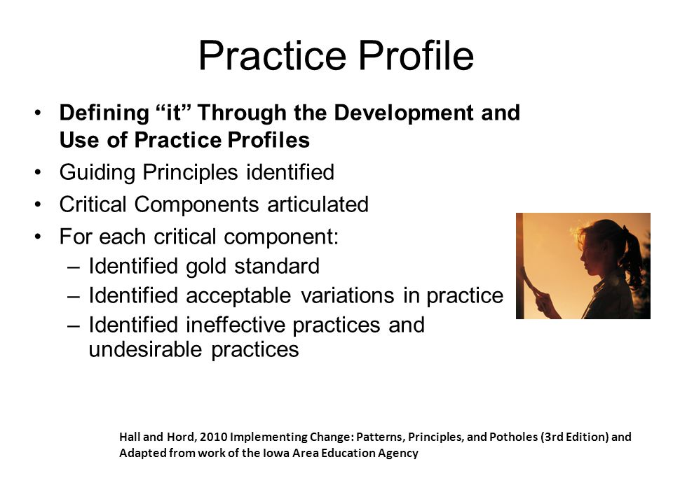 "Practice Profile Defining ""it"" Through the Development and Use of Practice Profiles Guiding Principles identified Critical Components articulated For"