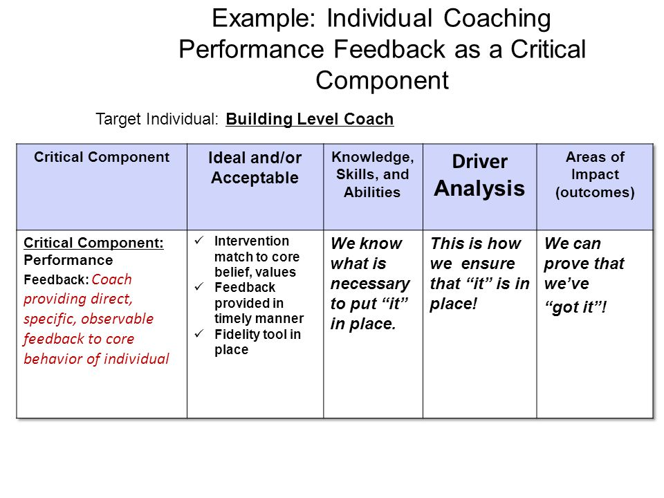Target Individual: Building Level Coach
