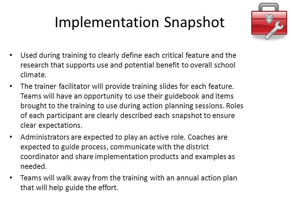 Implementation Snapshot Used during training to clearly define each critical feature and the research that supports use and potential benefit to overa