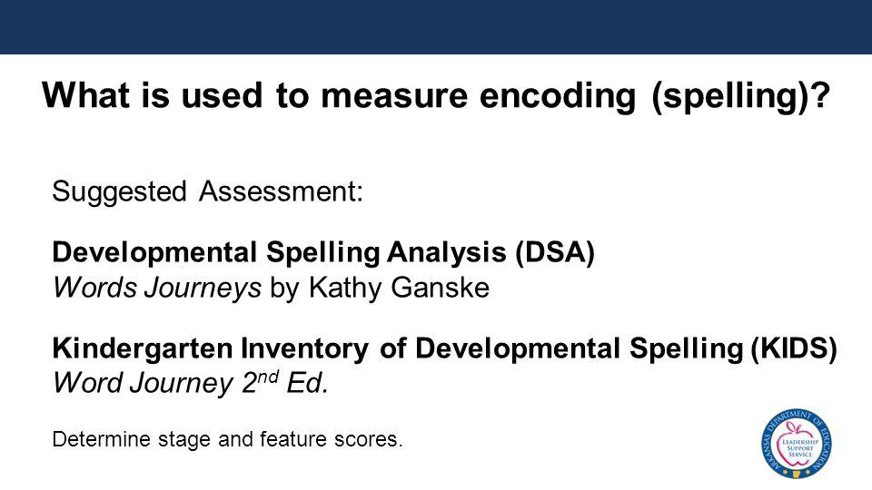 Suggested Assessment: Developmental Spelling Analysis (DSA) Words Journeys by Kathy Ganske Kindergarten Inventory of Developmental Spelling (KIDS) Wor