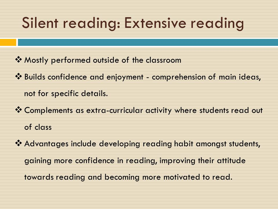 Factors Influencing Reading 1.First language literacy, 2.Level of proficiency in English 3.Background knowledge