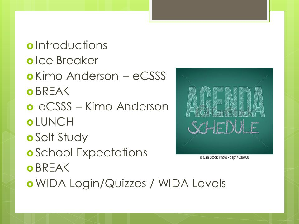  Introductions  Ice Breaker  Kimo Anderson – eCSSS  BREAK  eCSSS – Kimo Anderson  LUNCH  Self Study  School Expectations  BREAK  WIDA Login/
