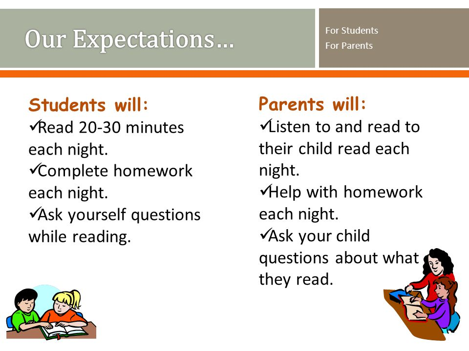 For Students For Parents Students will: Read minutes each night.