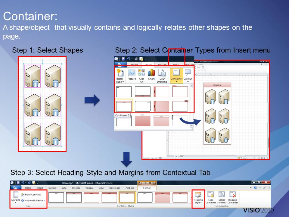Container: A shape/object that visually contains and logically relates other shapes on the page.