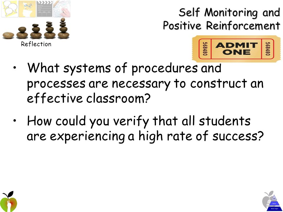 Self Monitoring and Positive Reinforcement What systems of procedures and processes are necessary to construct an effective classroom.
