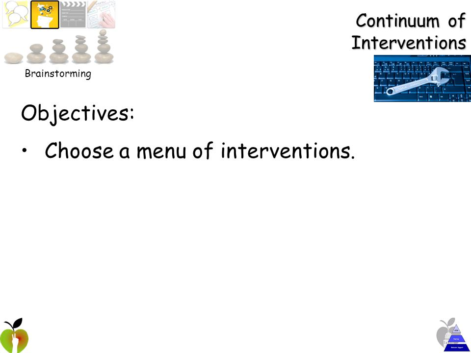Continuum of Interventions Objectives: Choose a menu of interventions. Brainstorming