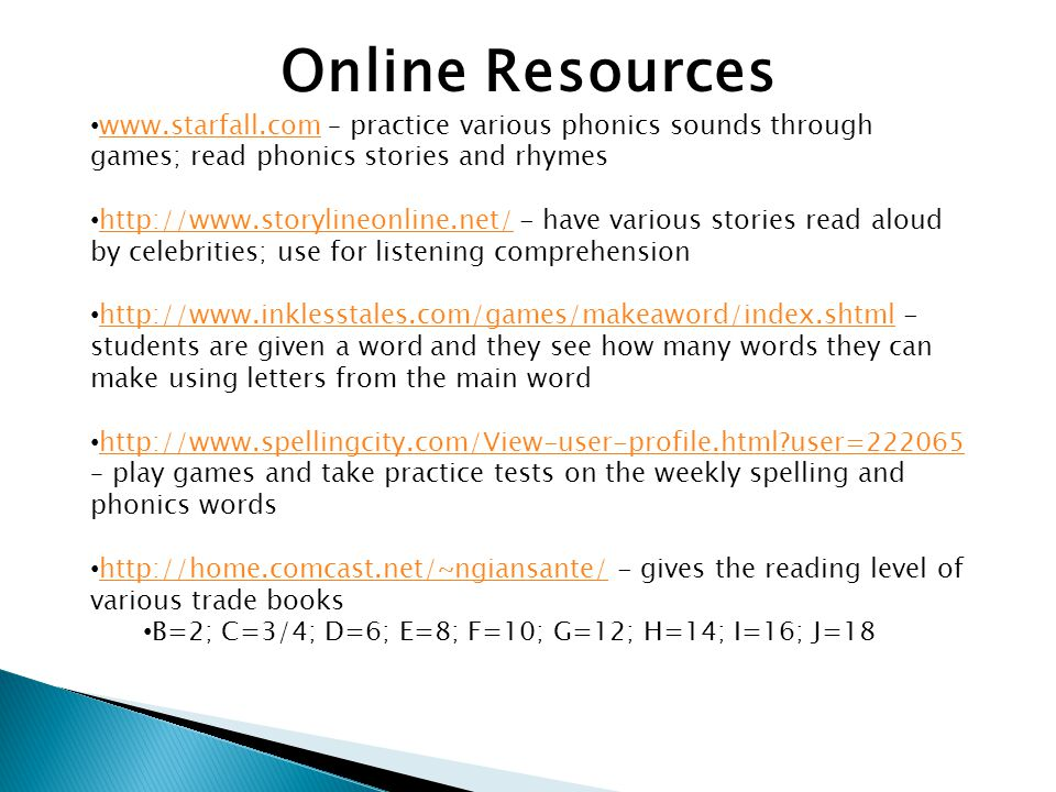Online Resources www.starfall.com – practice various phonics sounds through games; read phonics stories and rhymes www.starfall.com http://www.storylineonline.net/ - have various stories read aloud by celebrities; use for listening comprehension http://www.storylineonline.net/ http://www.inklesstales.com/games/makeaword/index.shtml - students are given a word and they see how many words they can make using letters from the main word http://www.inklesstales.com/games/makeaword/index.shtml http://www.spellingcity.com/View-user-profile.html?user=222065 – play games and take practice tests on the weekly spelling and phonics words http://www.spellingcity.com/View-user-profile.html?user=222065 http://home.comcast.net/~ngiansante/ - gives the reading level of various trade books http://home.comcast.net/~ngiansante/ B=2; C=3/4; D=6; E=8; F=10; G=12; H=14; I=16; J=18