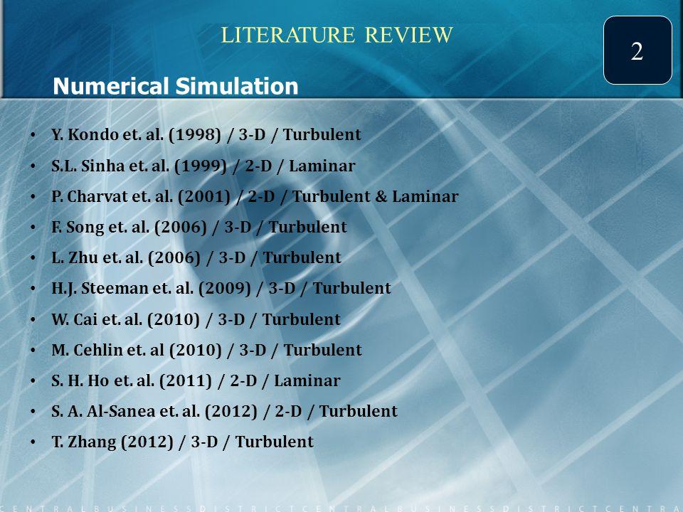 Numerical Simulation Y.Kondo et. al. (1998) / 3-D / Turbulent S.L.