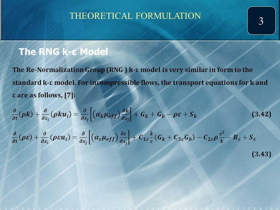 The RNG k-ε Model THEORETICAL FORMULATION 3