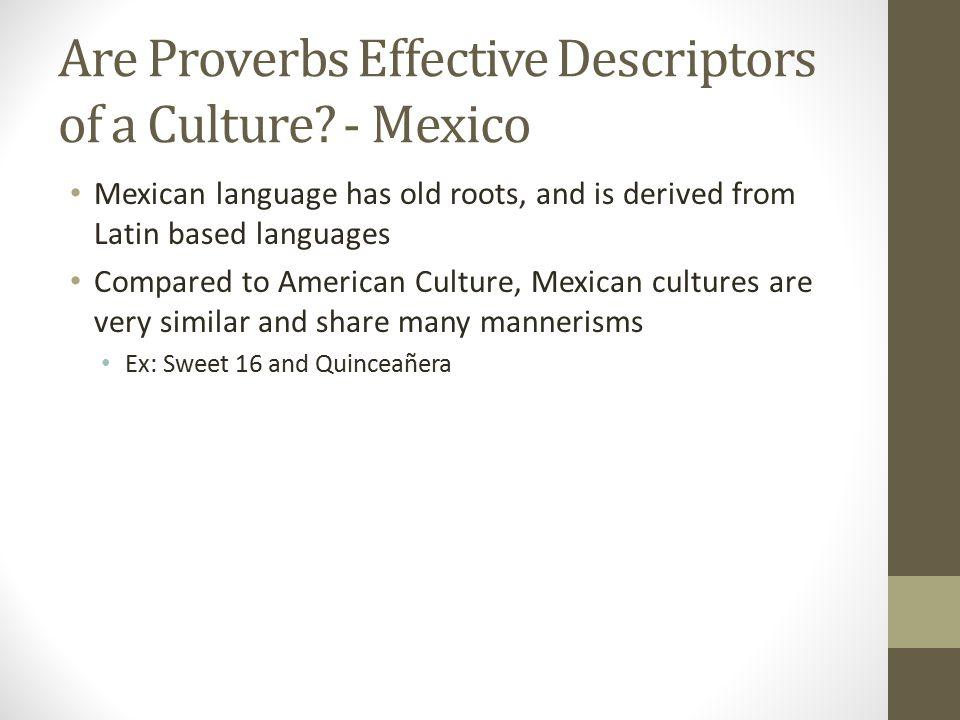 Are Proverbs Effective Descriptors of a Culture.
