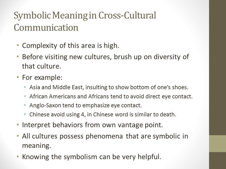 Symbolic Meaning in Cross-Cultural Communication Complexity of this area is high.