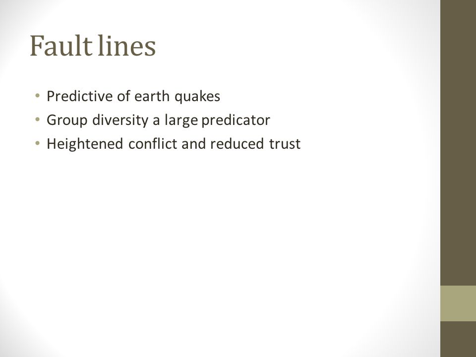 Fault lines Predictive of earth quakes Group diversity a large predicator Heightened conflict and reduced trust