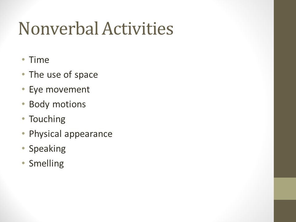 Nonverbal Activities Time The use of space Eye movement Body motions Touching Physical appearance Speaking Smelling