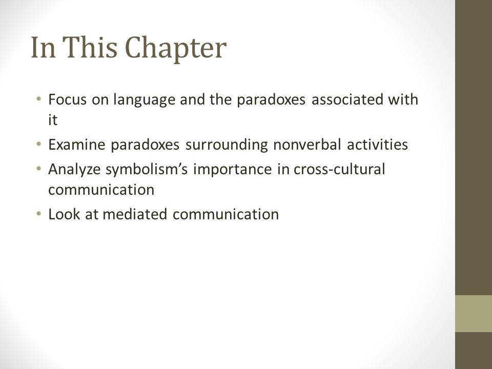 In This Chapter Focus on language and the paradoxes associated with it Examine paradoxes surrounding nonverbal activities Analyze symbolism's importance in cross-cultural communication Look at mediated communication