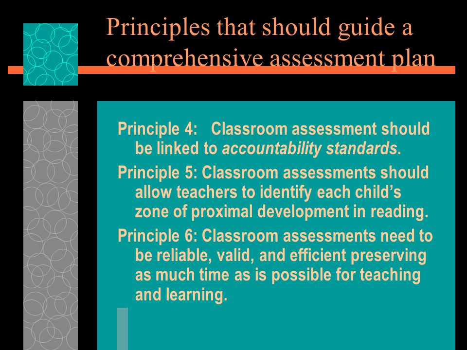Principles that should guide a comprehensive assessment plan Principle 4:Classroom assessment should be linked to accountability standards.
