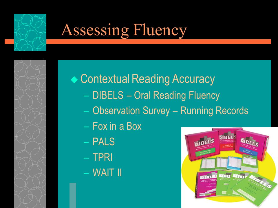 Assessing Fluency  Contextual Reading Accuracy –DIBELS – Oral Reading Fluency –Observation Survey – Running Records –Fox in a Box –PALS –TPRI –WAIT II