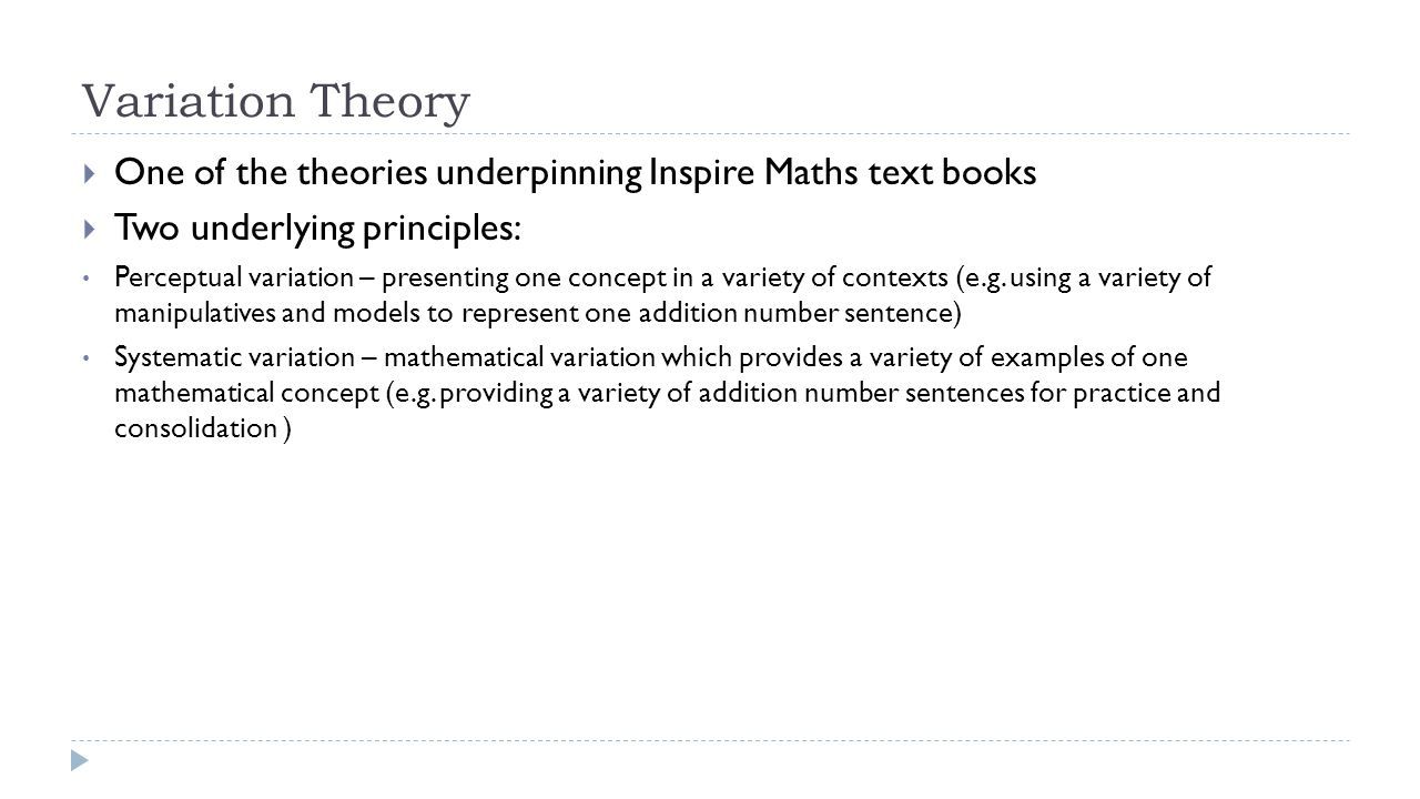 Variation Theory  One of the theories underpinning Inspire Maths text books  Two underlying principles: Perceptual variation – presenting one concept in a variety of contexts (e.g.