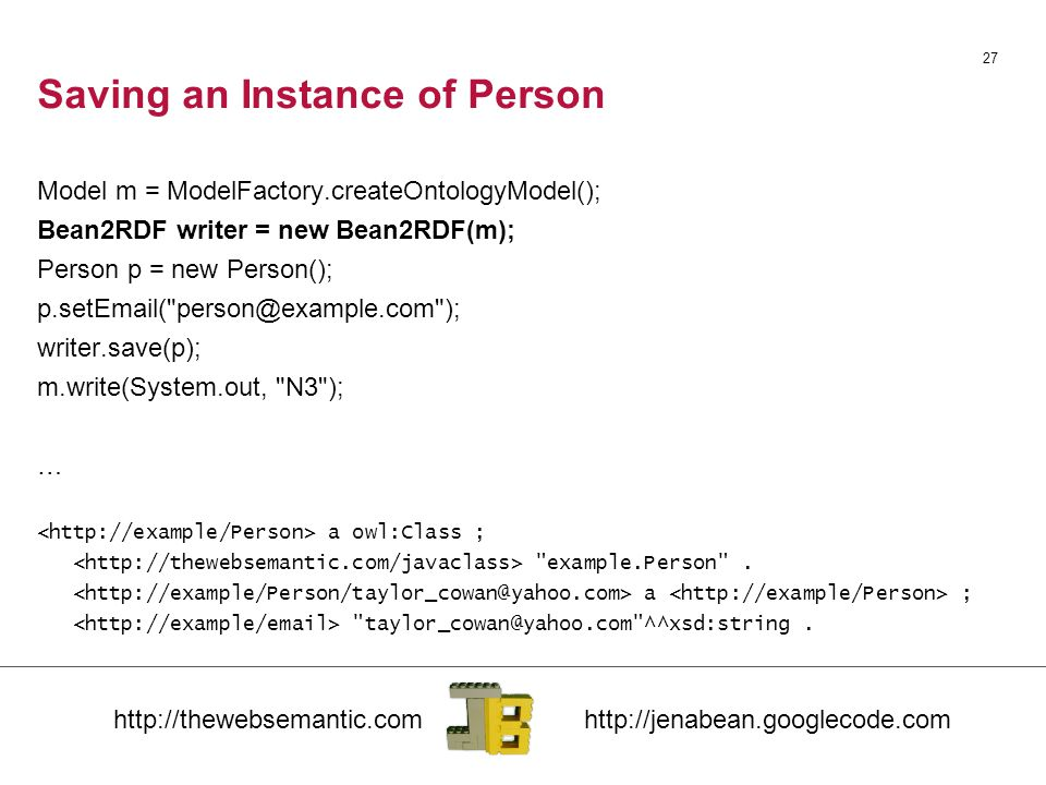 Saving an Instance of Person Model m = ModelFactory.createOntologyModel(); Bean2RDF writer = new Bean2RDF(m); Person p = new Person(); p.setEmail( person@example.com ); writer.save(p); m.write(System.out, N3 ); … a owl:Class ; example.Person .