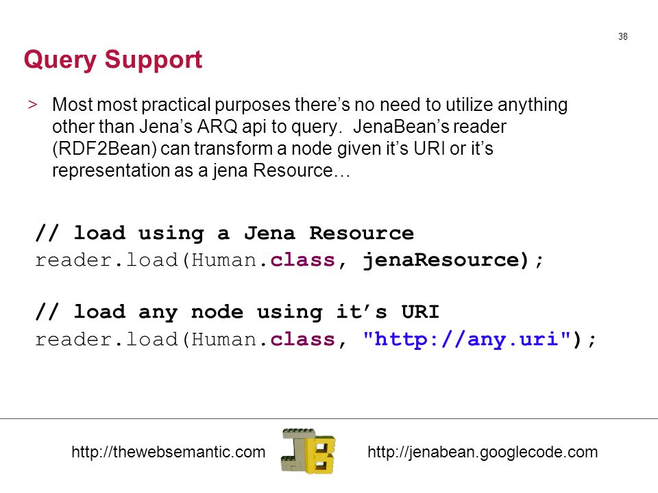 Query Support 38 // load using a Jena Resource reader.load(Human.class, jenaResource); // load any node using it's URI reader.load(Human.class, http://any.uri ); >Most most practical purposes there's no need to utilize anything other than Jena's ARQ api to query.